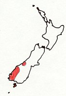 Southern Brown Kiwi map