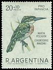 Cl: Amazon Kingfisher (Chloroceryle amazona) <<Martin pescador>>  SG 1214 (1967) 200