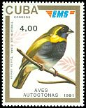 Cl: Cuban Grassquit (Tiaris canora) <<Tomeguin del Pinar>> (Endemic or near-endemic)  SG 3641E (1991)