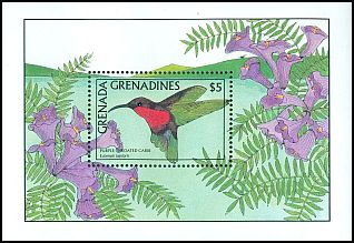 Cl: Purple-throated Carib (Eulampis jugularis)(Repeat for this country)  SG 955a (1988)