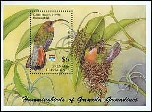 Cl: Rufous-breasted Hermit (Glaucis hirsuta)(Out of range)  SG 1509 (1992)