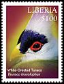 Cl: White-crested Turaco (Tauraco leucolophus)(Out of range and no other stamp) (I do not have this stamp)  new (2016)