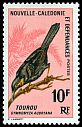Cl: Crow Honeyeater (Gymnomyza aubryana) <<Tourou>>  SG 410 (1966) 575
