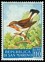 Cl: Red-breasted Flycatcher (Ficedula parva) <<Pettirosso>> (Out of range)  SG 602 (1960) 350