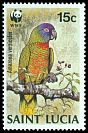 Cl: St. Lucia Parrot (Amazona versicolor)(Endemic or near-endemic)  SG 969 (1987) 8