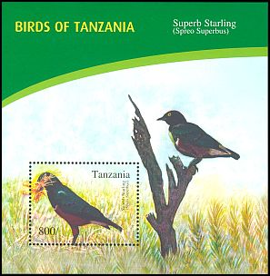 Cl: Superb Starling (Lamprotornis superbus)(Repeat for this country) (I do not have this stamp)  new (2012)  [8/15]