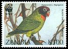Cl: Black-cheeked Lovebird (Agapornis nigrigenis)(Endemic or near-endemic)  SG 755 (1996) 30